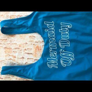 """Swim - One piece """"mermaid off duty""""swimsuit Sz XL"""